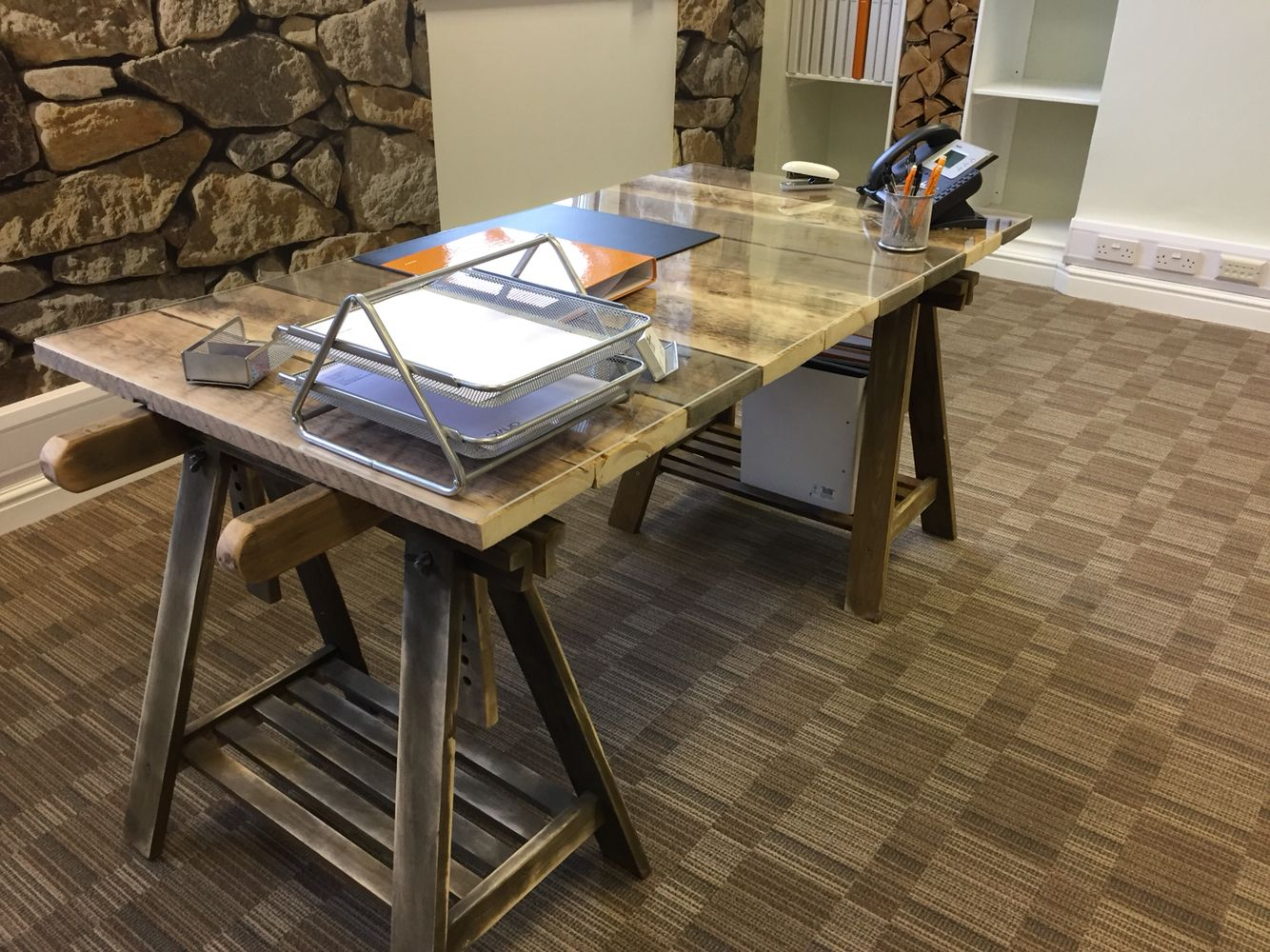 My stunning desk lovingly made with some very old saw horses a