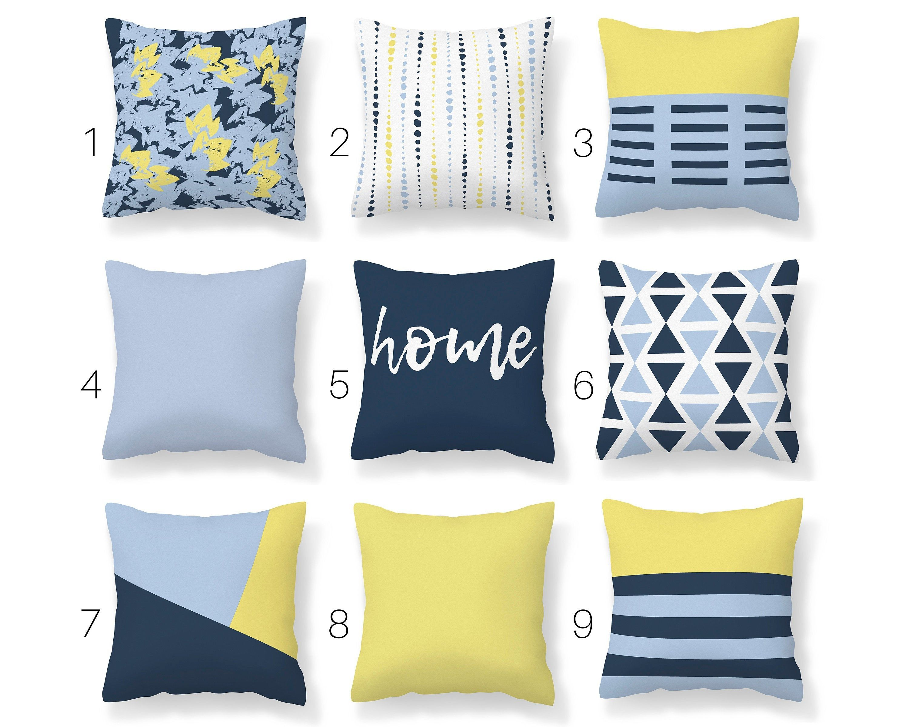 Navy Light Blue Yellow Throw Pillow Cover Mix And Match Pillow Blue Yellow Spring Decor Unique Couch Cushion In 2020 Yellow Throw Pillows Blue Pillows Yellow Throw Pillow Covers