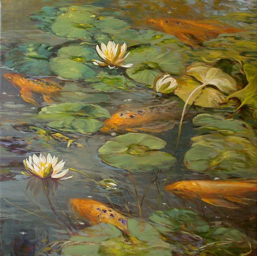 Koi and lilies by chuck larivey pinturas y cuadro for Pintura para estanques