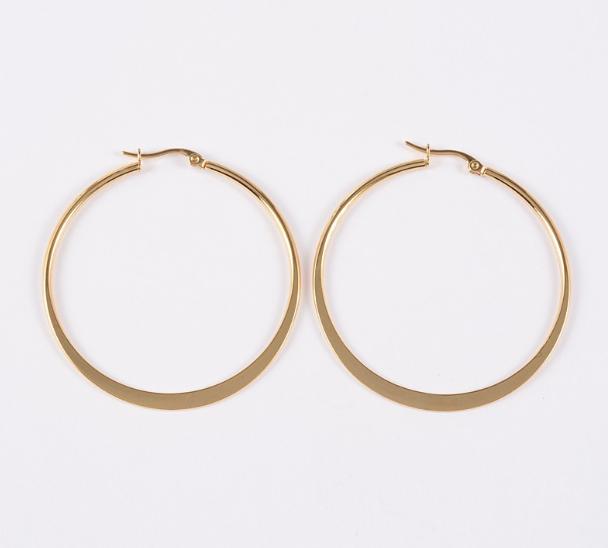 "Flat 1 1/4"" Band Hoops Pierced Stud Earrings Gold Tone"