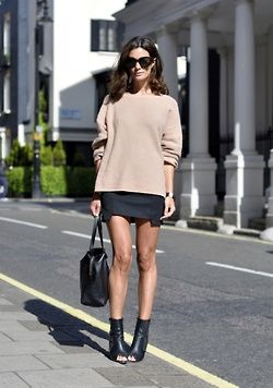 Slouchy sweater paired with a mini and peep toe booties.