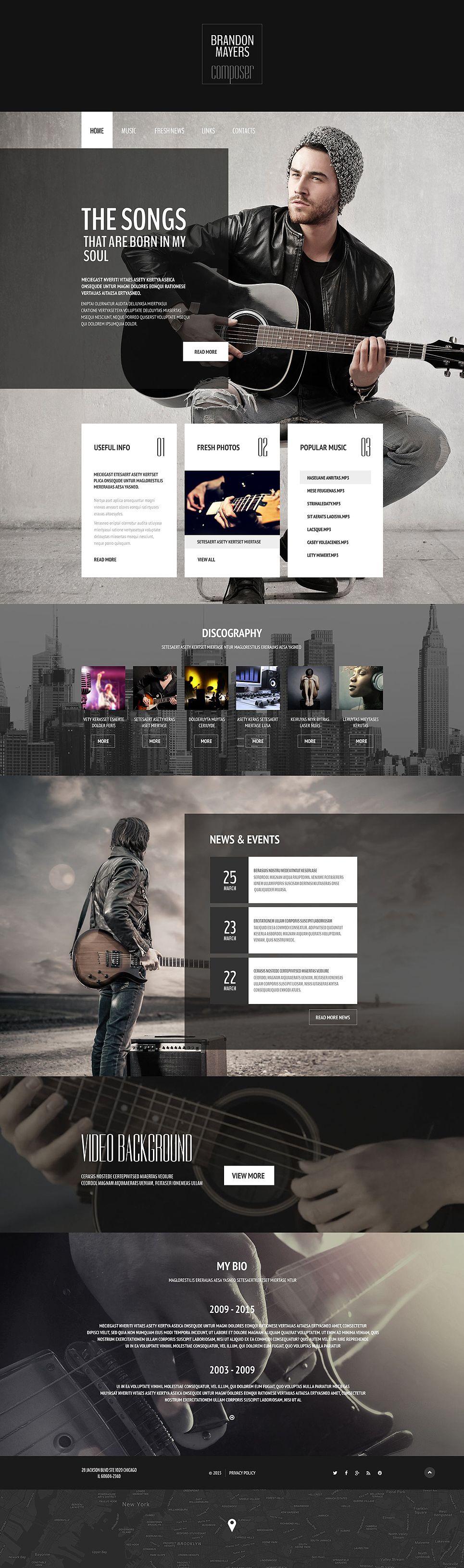 Composer\'s Portfolio Website Template | Genf, Screendesign und Webseite