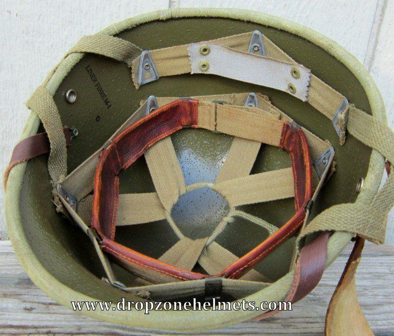 Image of WWII M2 Airborne Hawley Helmet Liner. Paratrooper. HBT Webbing. (Aged)