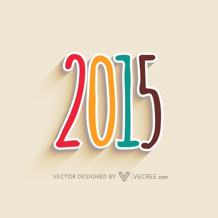 2015 Colorful Design With Shadow Free Vector #2015 #vecree