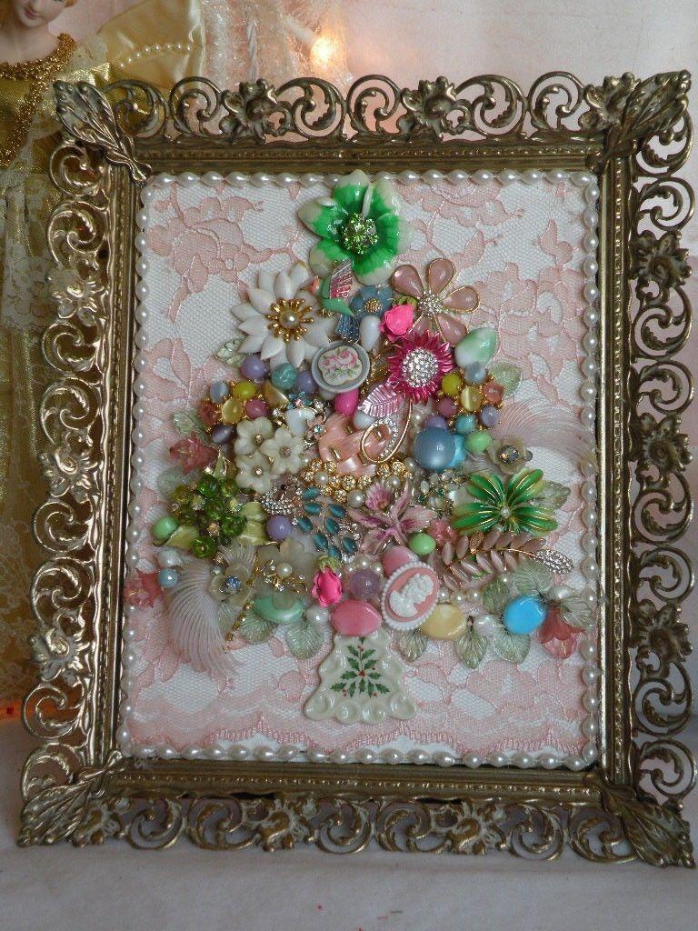 Vtg Framed Shabby Chic Jeweled Jewelry Christmas Tree in Vtg Ornate ...