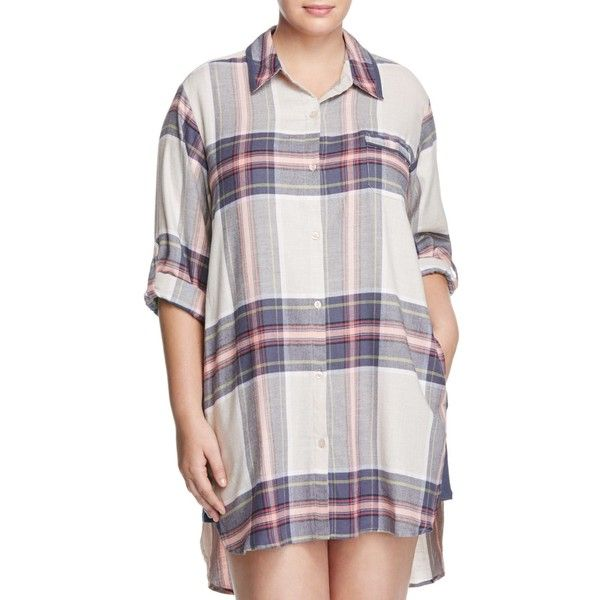 d6dee4e4500dc Dkny Intimates Long Sleeve Flannel Boyfriend Sleepshirt ( 66) ❤ liked on  Polyvore featuring plus