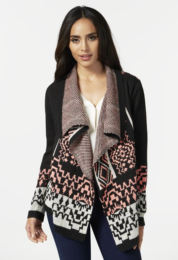 Neon Aztec Cardigan in Black Multi - Get great deals at JustFab
