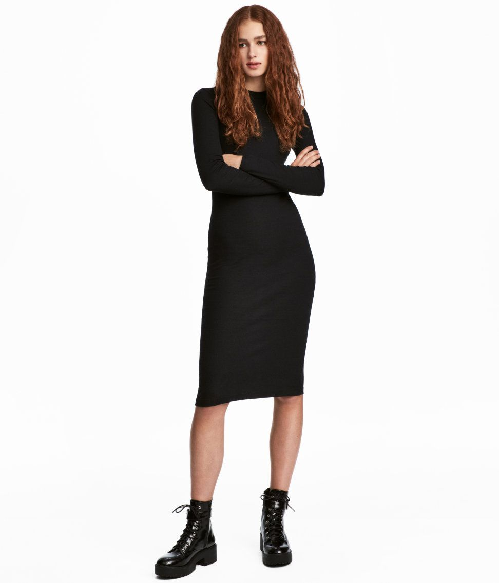 Check this out fitted kneelength dress in ribbed jersey made from