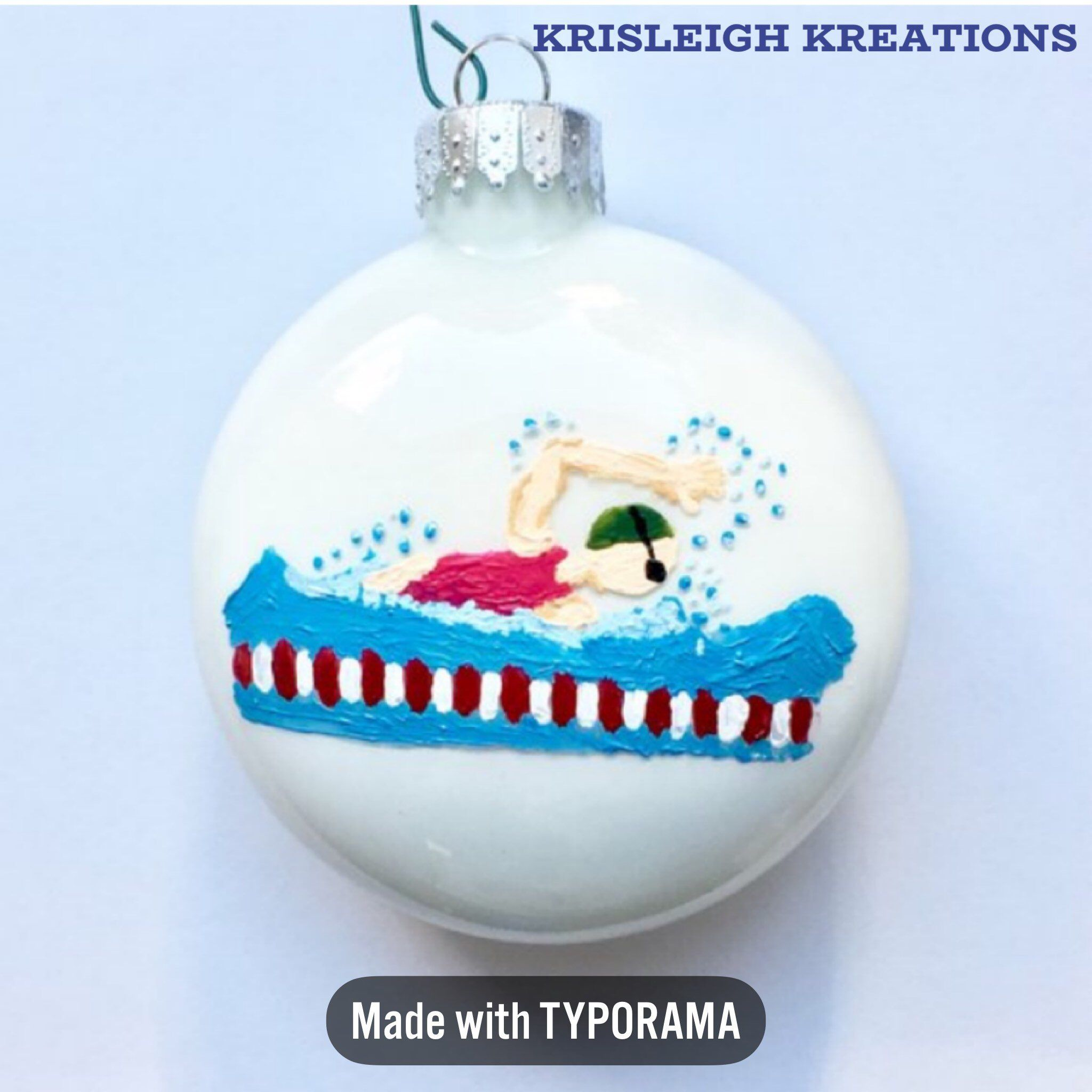 Personalized Swimmer Christmas Ornament Glass Hand Painted