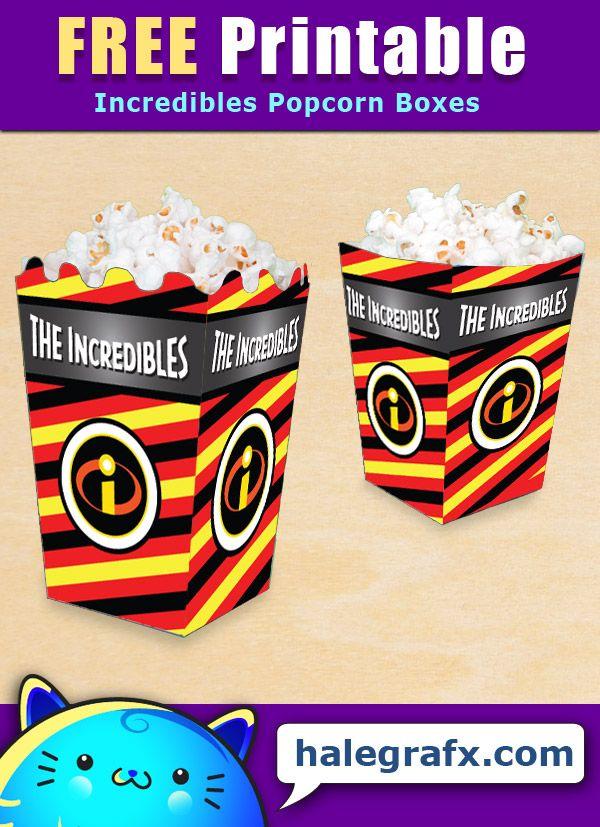 FREE Printable Incredibles Popcorn Box