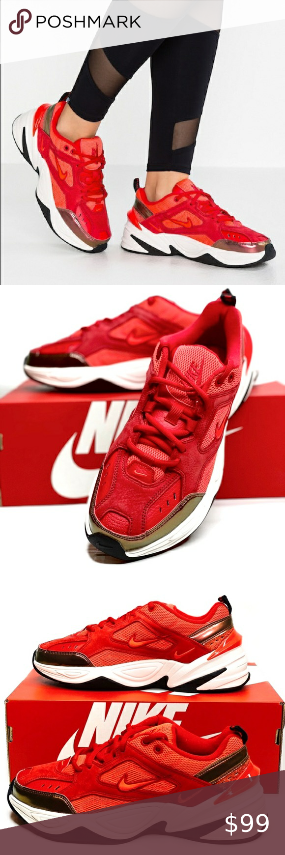 Nwt Nike M2k Tekno Red Sneakers Nwt Nike M2k Tekno Size Women S 8 Color University Red Crimson Brand New In Box Dist Red Sneakers Nike Womens Shoes Sneakers