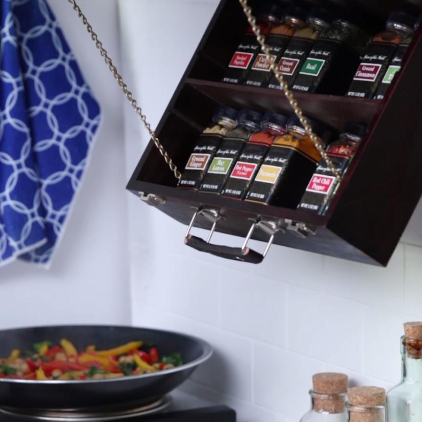 This FoldDown Spice Rack Is Perfect For Cooks With A Small Kitchen is part of Spice Organization Videos - At hand when you need it, hidden when you don't
