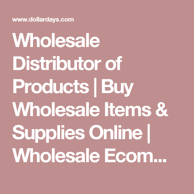 Wholesale Distributor Of Products