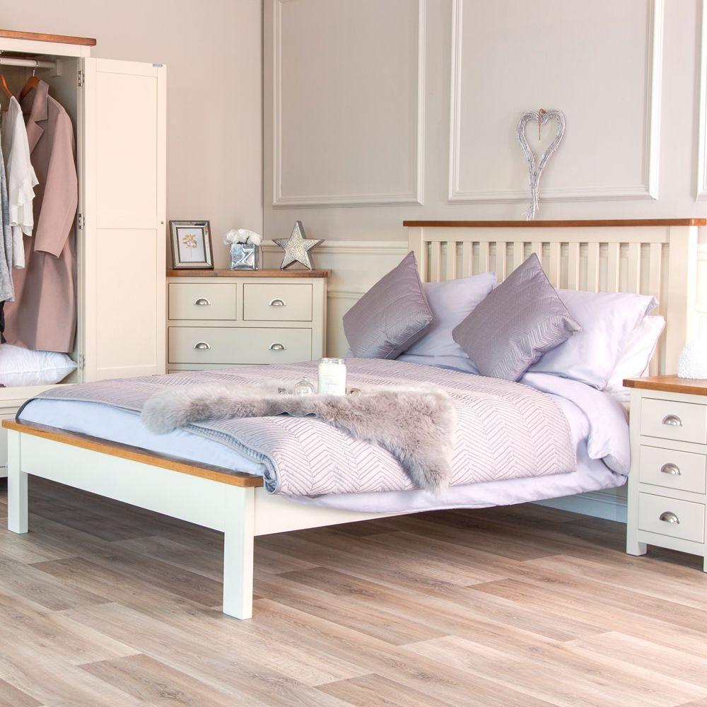 Portland Cream Painted Oak 5ft King Size Bed Bedroom Furniture