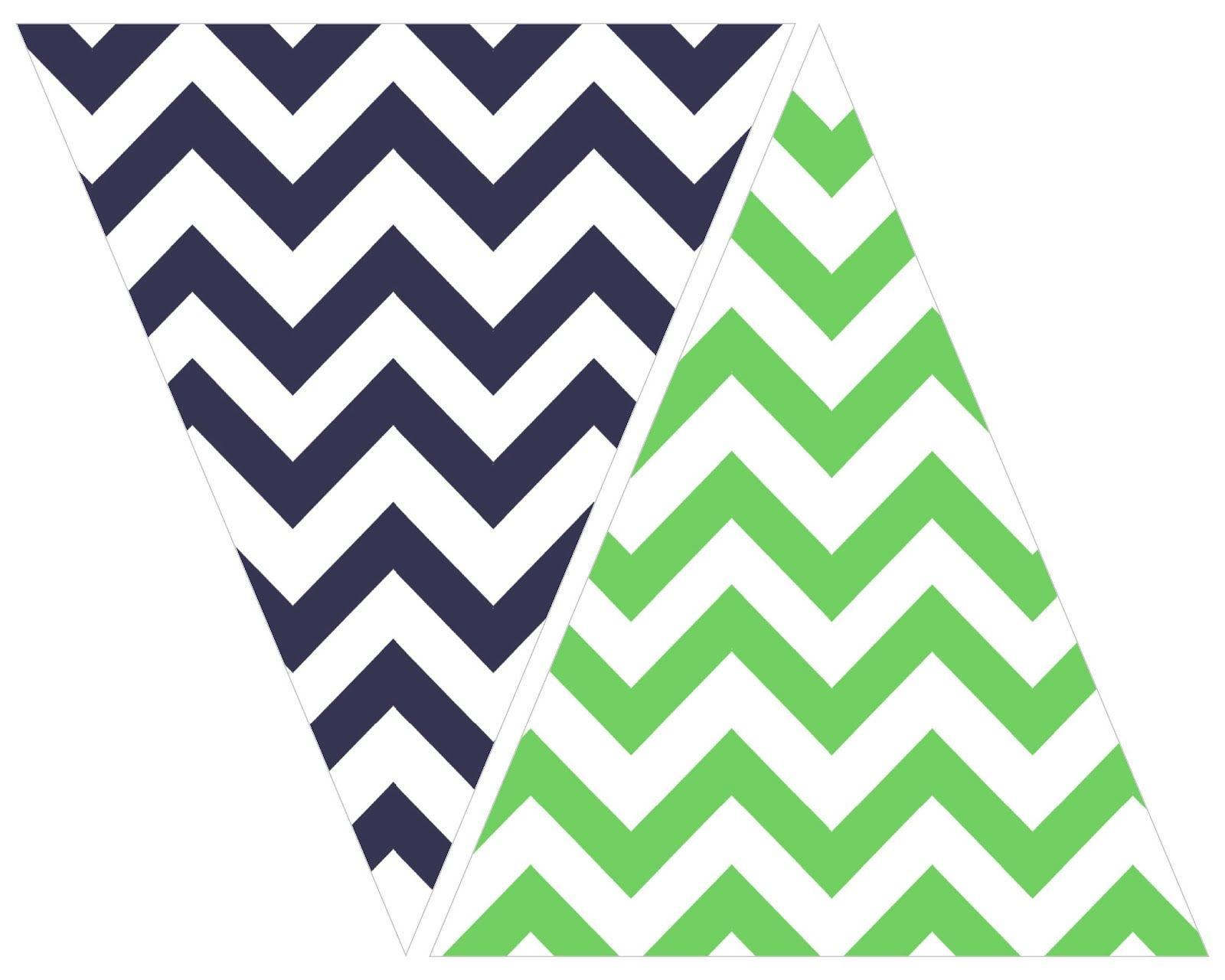 printable: navy and green chevron bunting | Printables, Packaging + ...