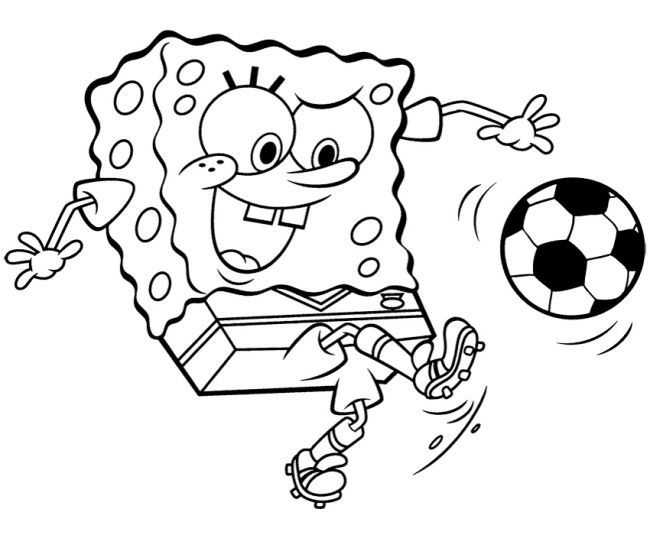 Quatang Gallery- Printout Spongebob Playing Soccer Coloring Page Find Coloring Football Coloring Pages Spongebob Coloring Sports Coloring Pages