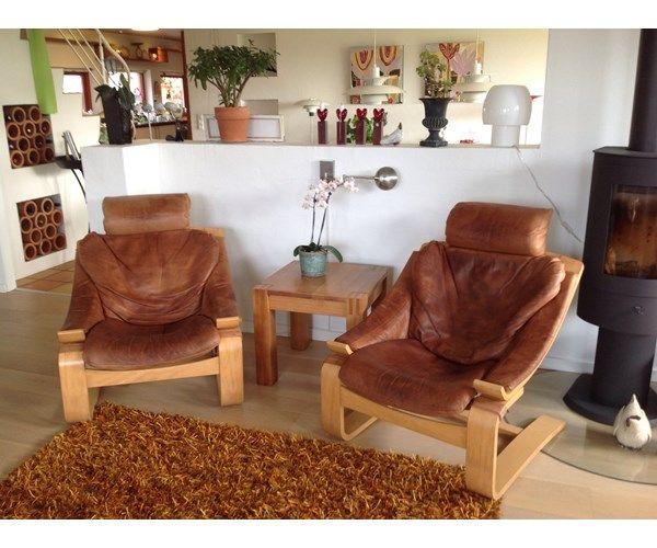 Hvilestol, læder, Kroken, Kroken hvile stole i brun læder 2