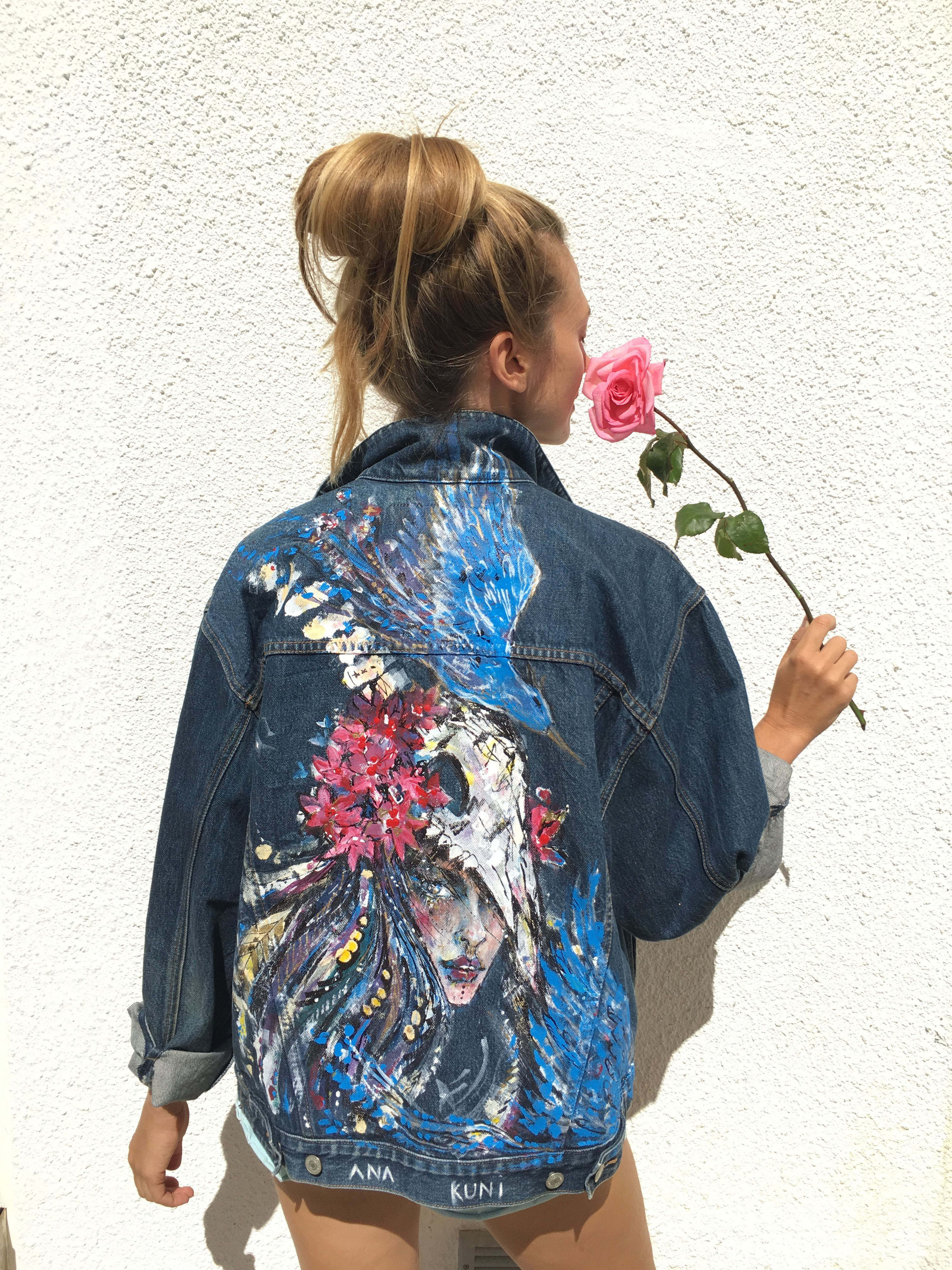 One Of A Kind Hand Painted Denim Jacket By Ana Kuni Www Anakuni Com Hand Painted Denim Jacket Painted Denim Jacket Denim Design