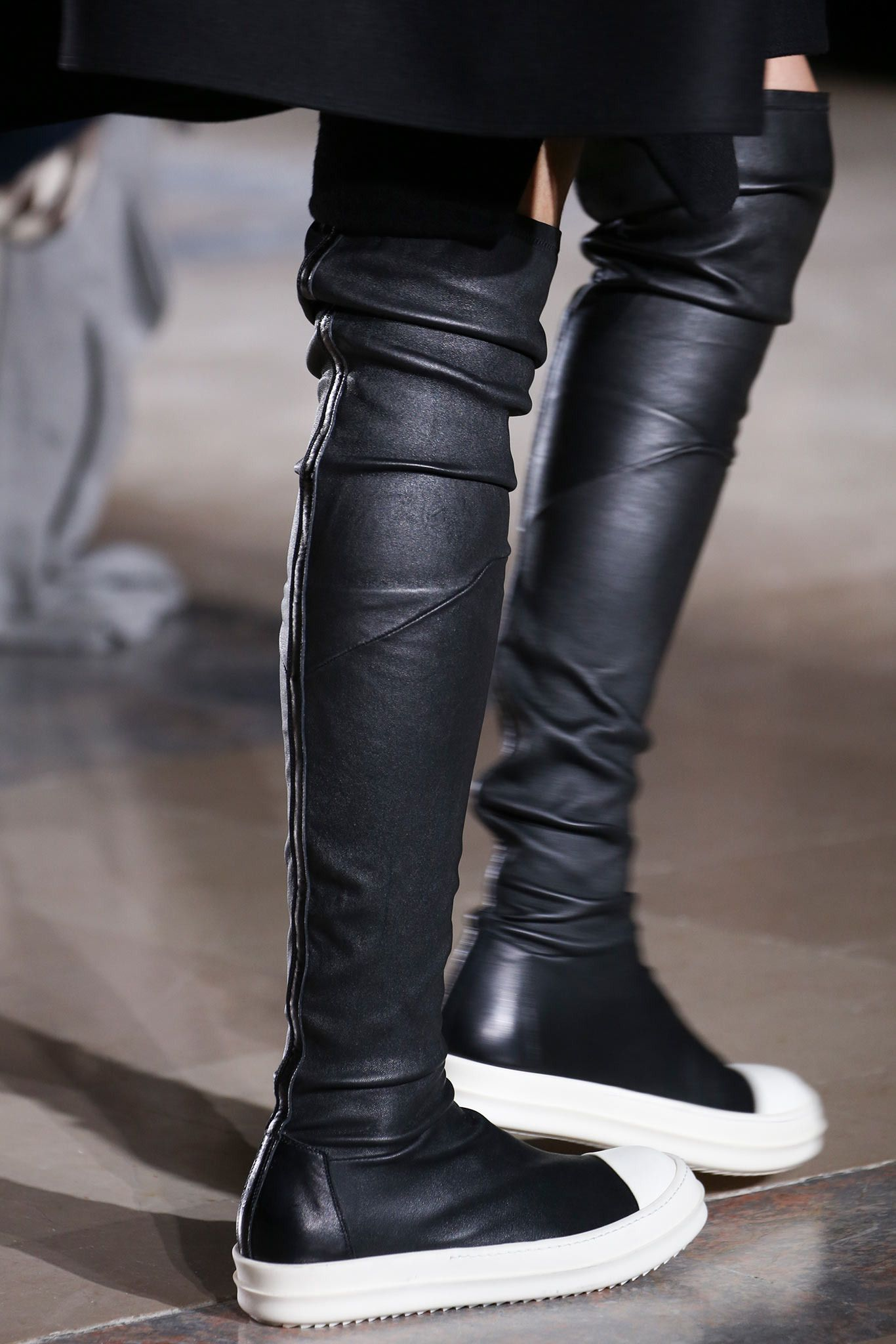 d3433f27be2 Black leather white sole over the knee sneaker boots. Rick Owens ...