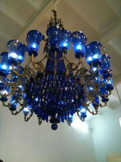 Cobalt Blue Chandelier Is So Pretty Love This Blue Chandelier