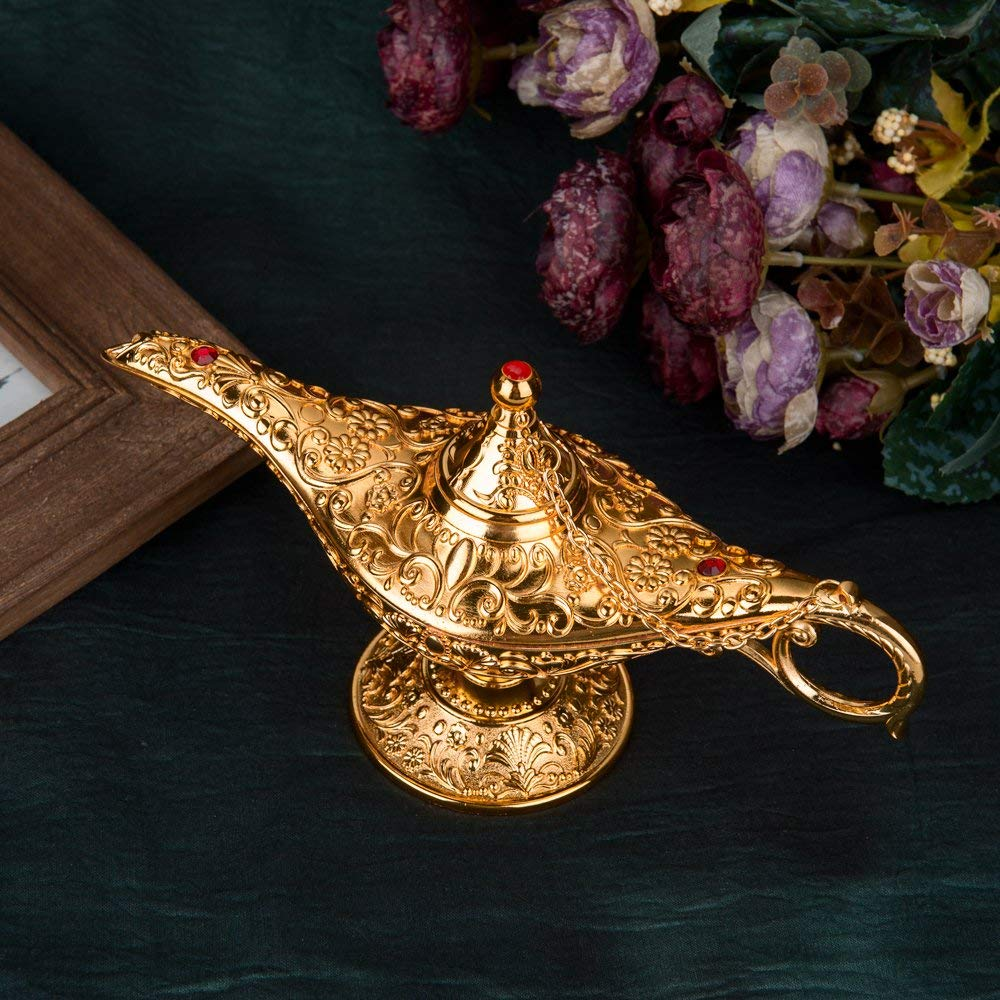 Feyarl Gold Legend Magic Genie Light Lamp Pot Incense Burner with Gift Box for
