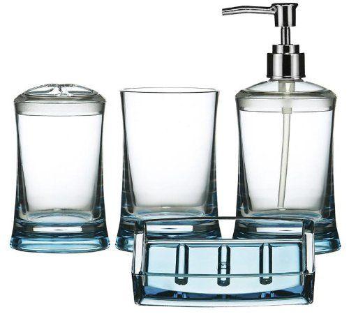 4 Piece Bathroom Set Tumbler Toothbrush Holder Lotion Dispenser