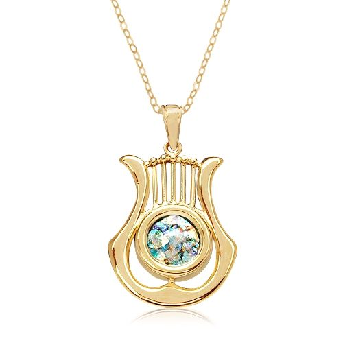 Gold and round roman glass davids harp pendant joyas pinterest gold and round roman glass davids harp pendant aloadofball Gallery