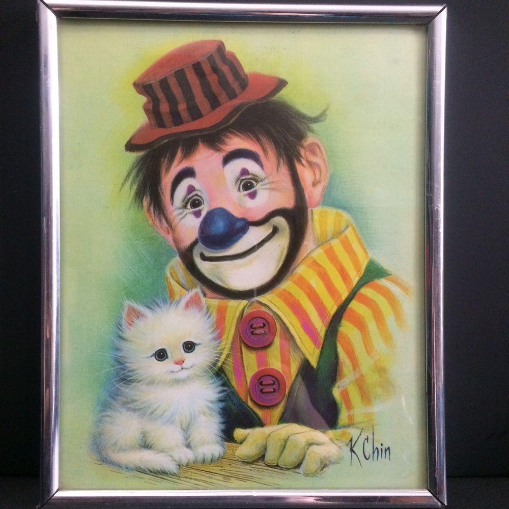 Vtg Clown And Kitten Picture K Chin Mid Century Kitsch Creepy Clowns Framed 8x10 Creepy Clown Kitten Pictures Creepy