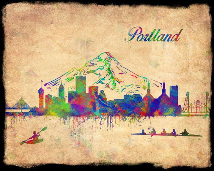 Portland Skyline Watercolor Oregon Art Print Poster Abstract Office ...