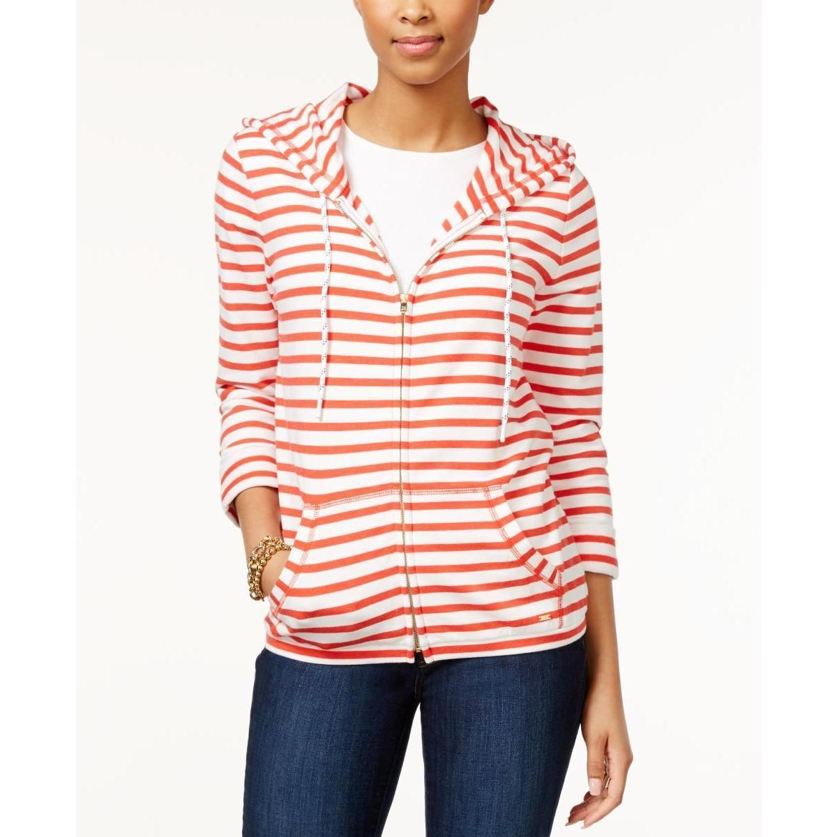 Tommy Hilfiger Womens French Terry Striped Hoodie