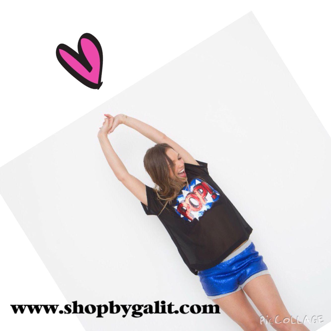 Black top . Pop art sexy blouse.wwwshopbygalit.com