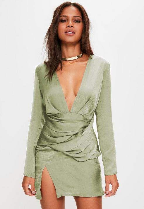 ba8bcfa28fd3 Missguided Green Silky Paneled Long Sleeve Shift Dress Silk Satin, Dress  Designs, Missguided,