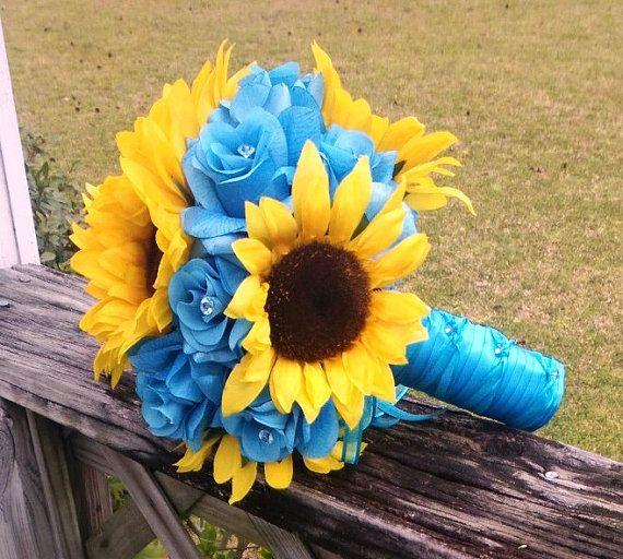 10 piece sunflower bouquet malibu blue yellow sunflower bridal bouquet wedding bouquet set turquoise bouquet sunflower wedding rustic