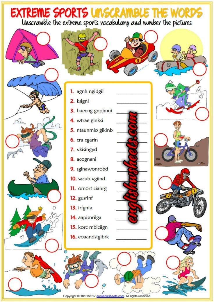 Extreme Sports Esl Printable Unscramble the Words