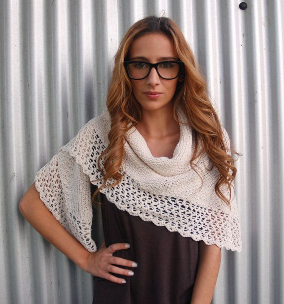 ivory knitted wool shawl by woolab on Etsy, €46.50