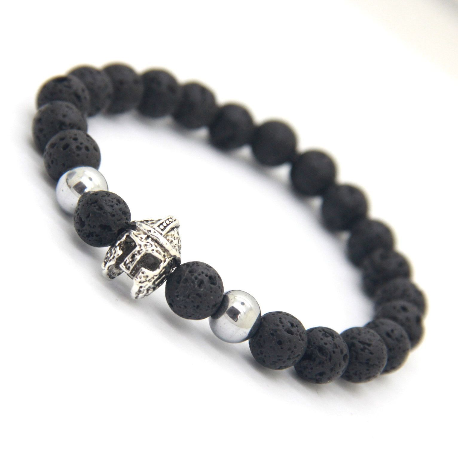 Lava Stone Bead Roman Spartan Warrior Helmet Bracelets For Men