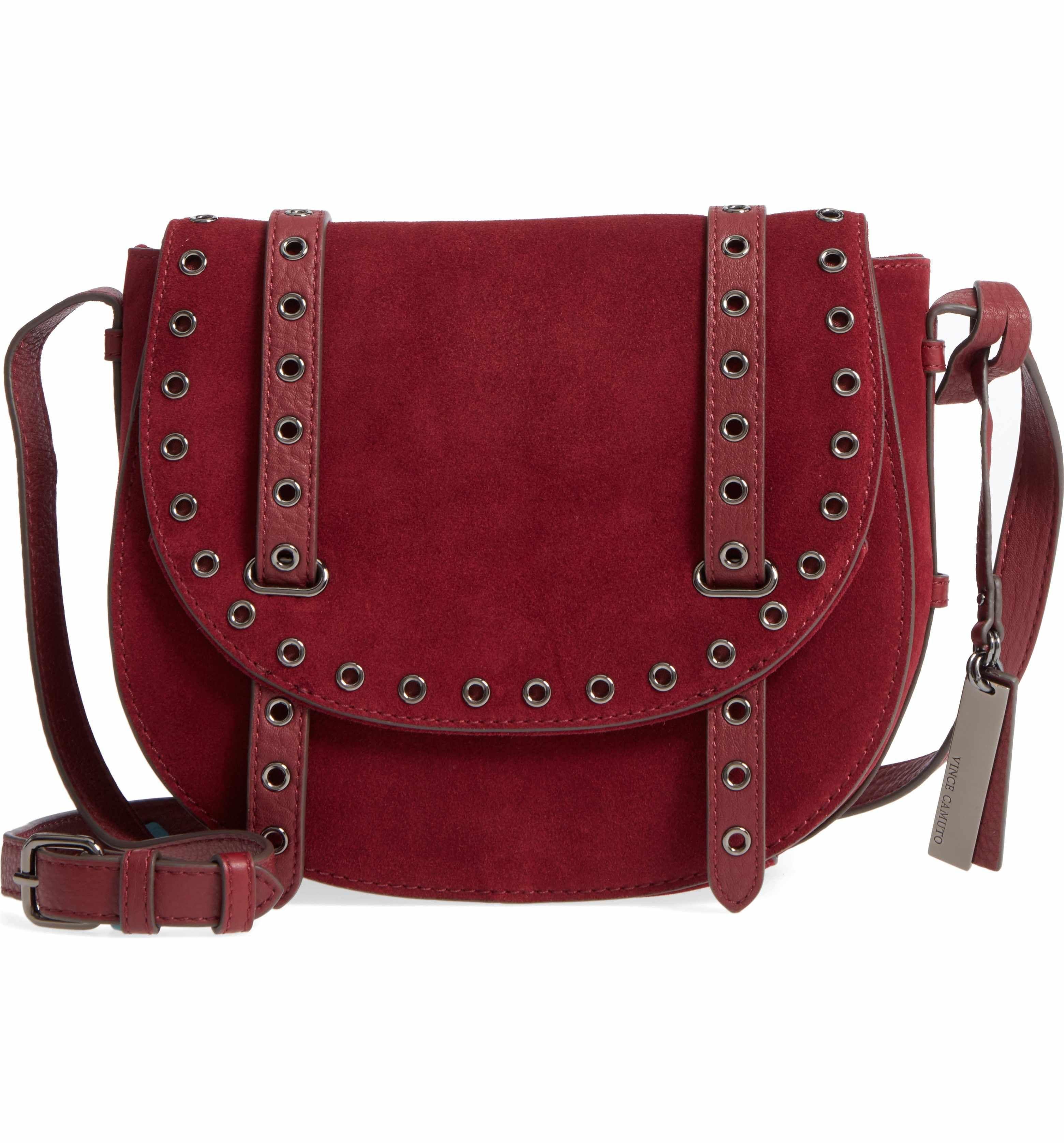 2547da126e7f Main Image - Vince Camuto Areli Suede   Leather Crossbody Saddle Bag ...