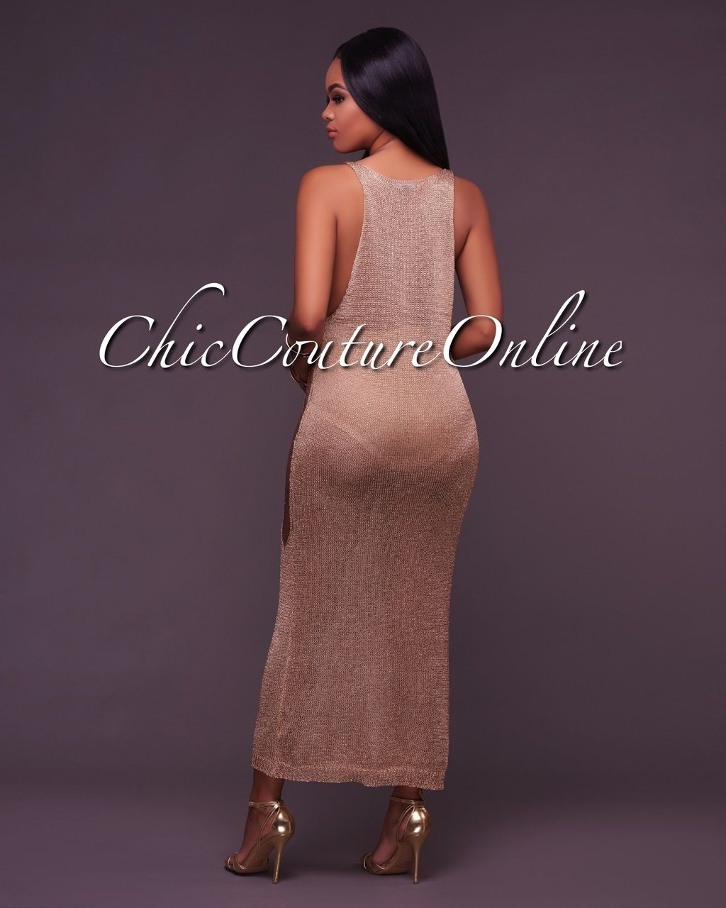 563a3ed39a9 Chic Couture Online - Della Metallic Gold Crochet Cover-Up Dress, (http: