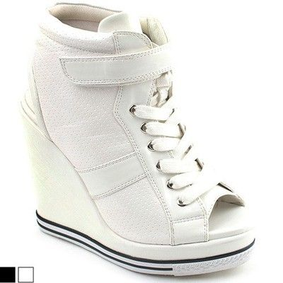 63eba7f8004 SHOESONE Korean womens white open toe high top wedge high heels sneakers  shoes