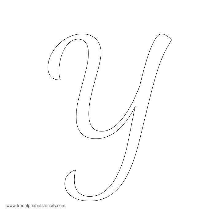 Cursive Alphabet Stencil Y