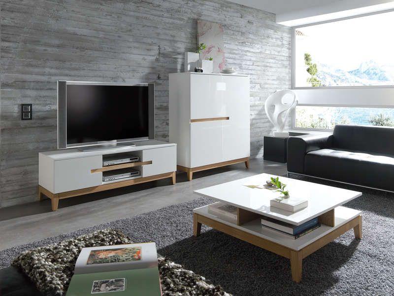 table basse carr e sandy coloris blanc naturel prix promo table basse pas cher conforama. Black Bedroom Furniture Sets. Home Design Ideas