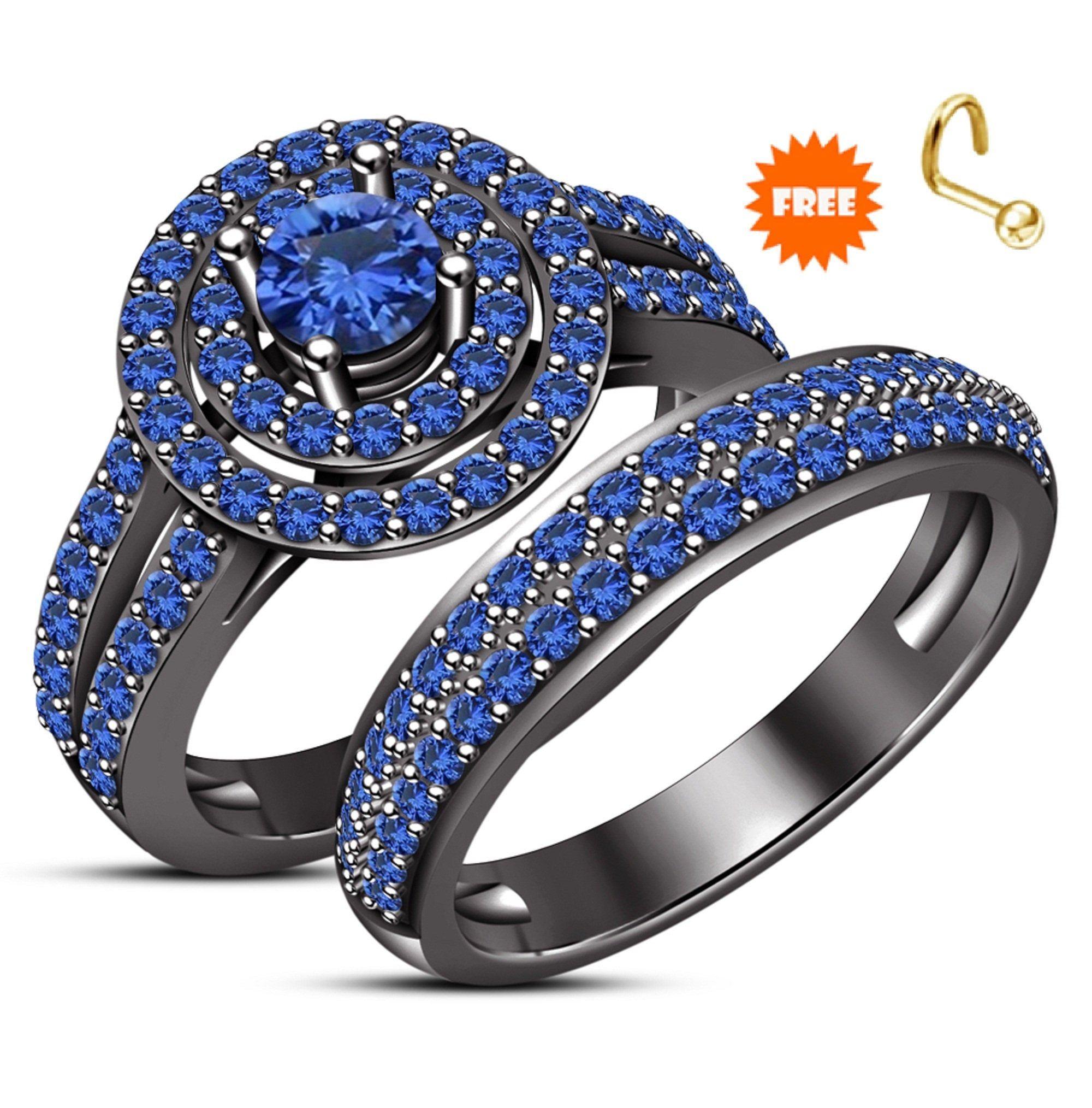 10k Black Gold Finish Blue Sapphire Bridal Set Solid 925 Sterling