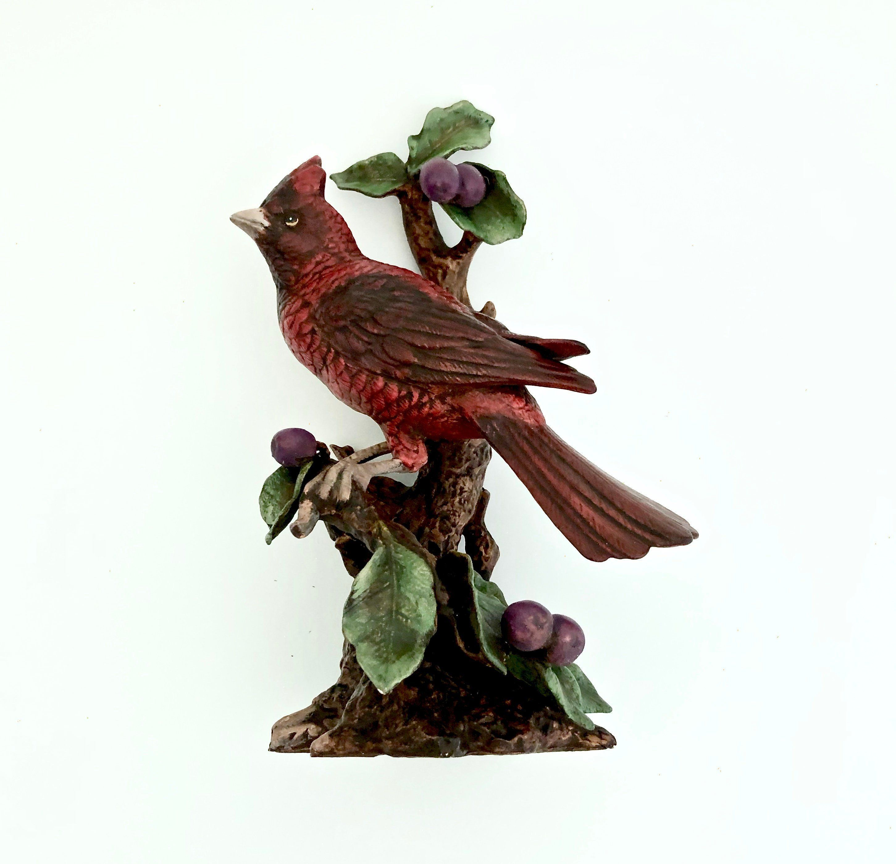 Vintage Cardinal Lifesize Figurine Male Cardinal On A Tree