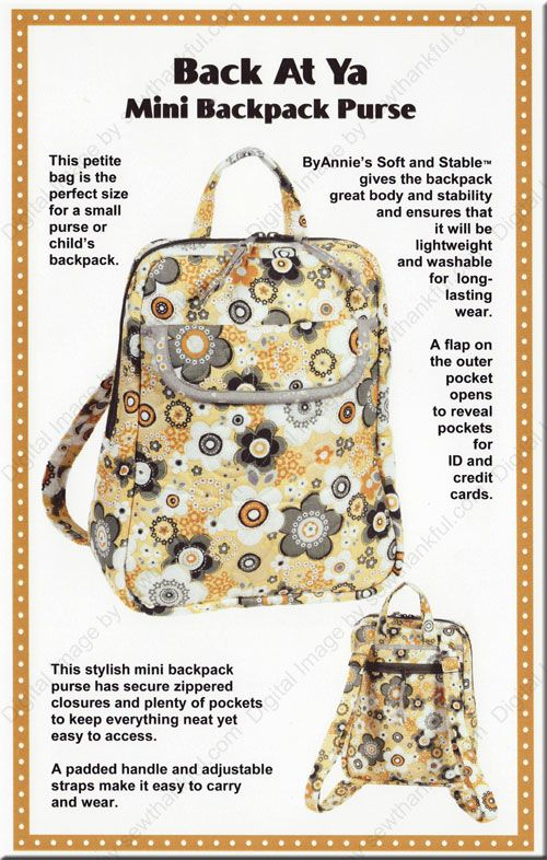 Back At Ya Mini Backpack Purse sewing pattern from Annie Unrein ...