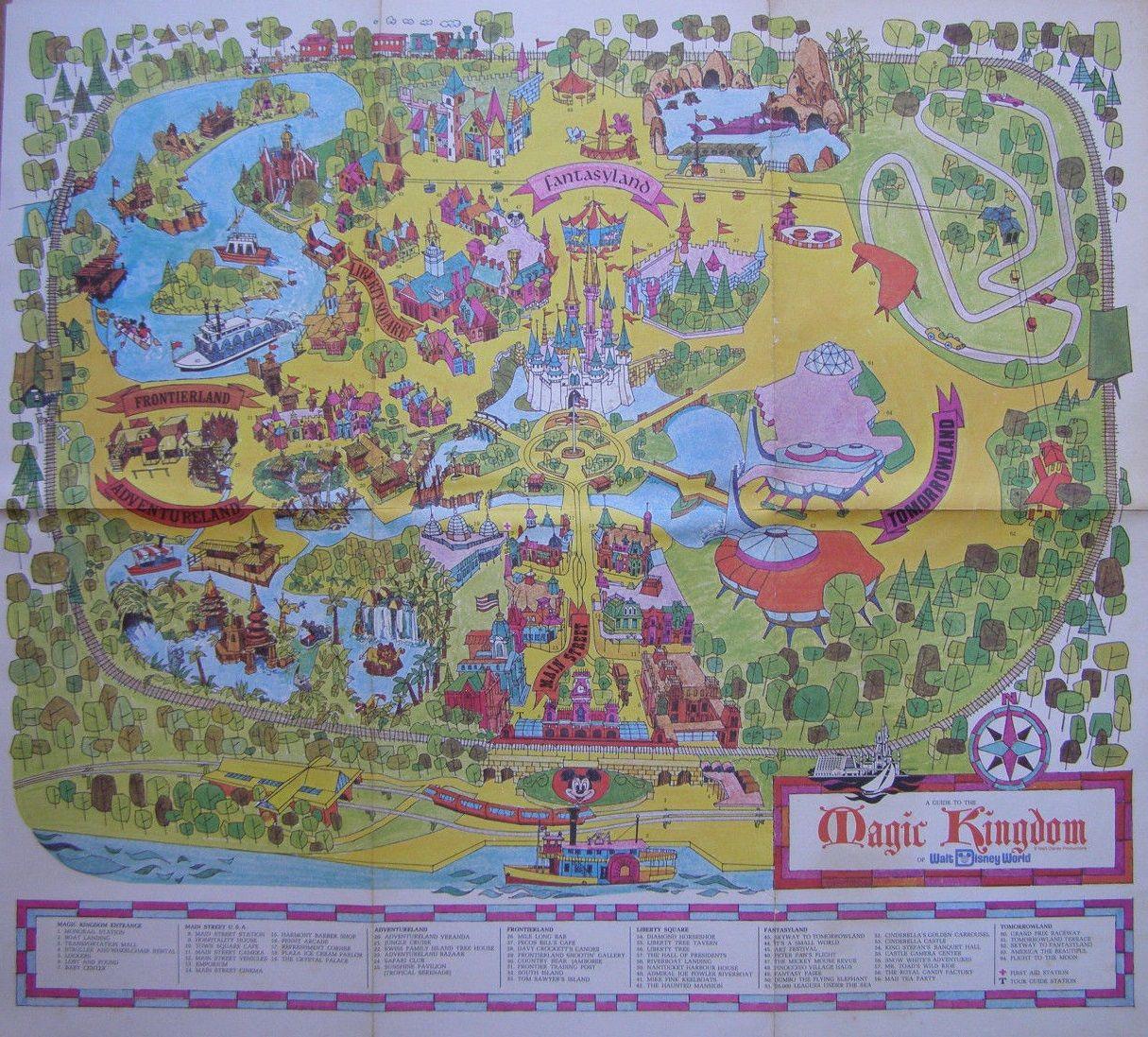 Walt Disney World 1971 Magic Kingdom Park Map Walter Elias