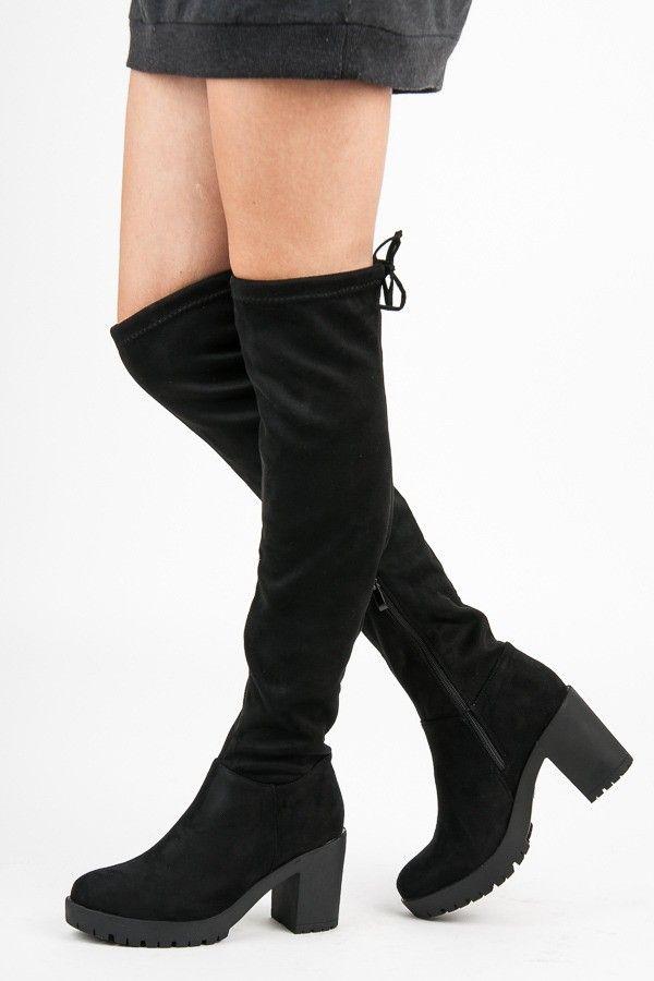 52c760e1482f Čierne semišové čižmy nad kolená 1354-1B