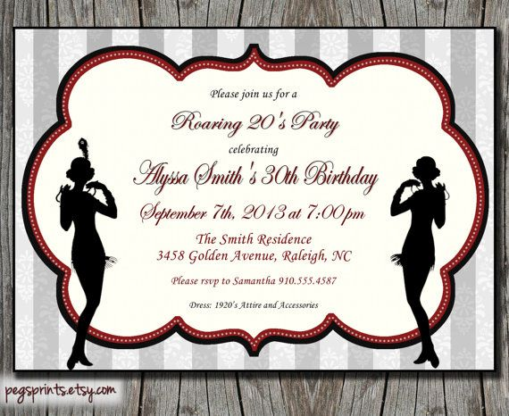 Roaring 20s Birthday Invitation 1920s Printable Fler Great Gatsby