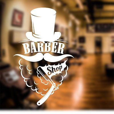 Barber shop window decal.