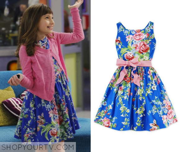 Austin Ally Season 4 Episode 9 Sadie S Blue Floral Dress Shop Your Tv Floral Blue Dress Blue Floral Print Dress Fashion Outfits