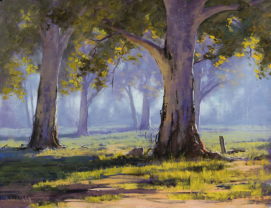 Australian GUM TREES PAINTING artwork Sheep landscape by G